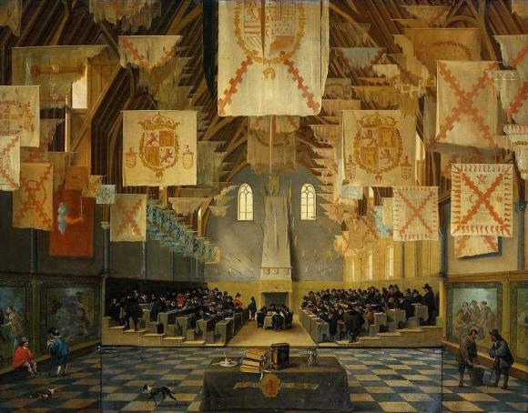 De grote zaal op het Binnenhof, Den Haag, tijdens de grote vergadering der Staten Generaal in 1651