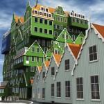 Hotel van gestapelde huisjes zet historie Zaanstreek op de kaart