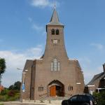 Kerktoren 'waterstaatskerk' Lattrop in de steigers