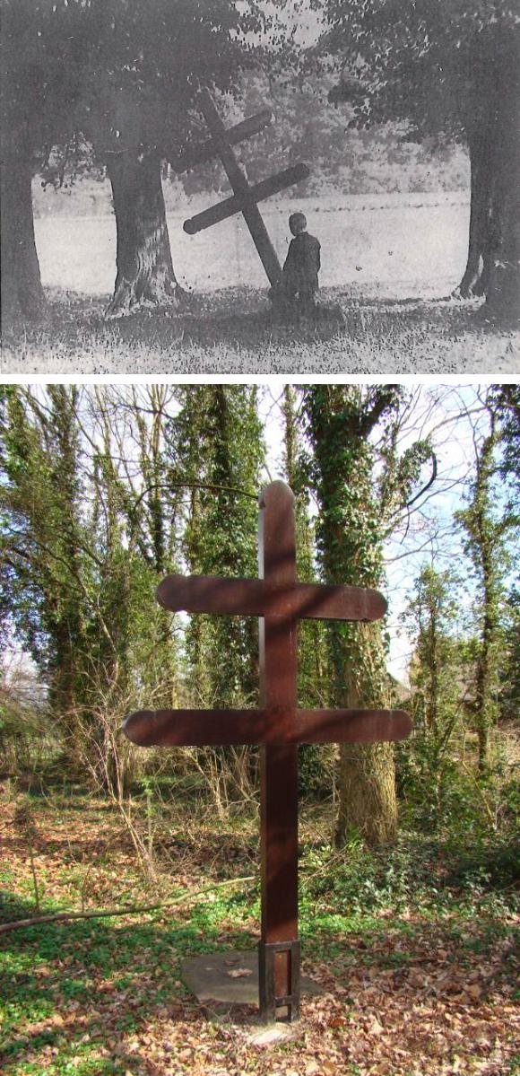 Boven: Devotieplaats 1906 uit jaarboek HVR 1984. Onder: Hersteld kruis 2010 Piet van de Venne Heemkundevereniging Roerstreek