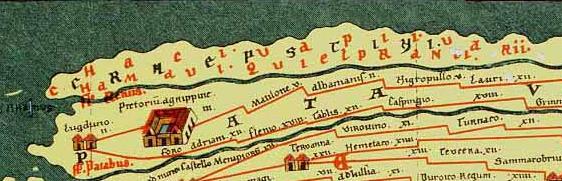 Deel van de Peutinger kaart waarop ook romeins Nederland met de Limes