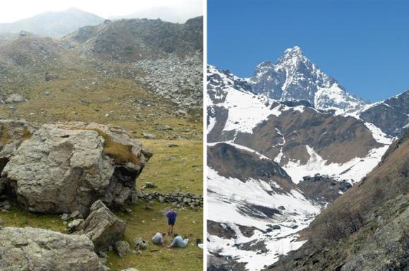 Links: Eén van de bewerkingsplekken van de ruwe blokken jadeiet (© Pierre Pétrequin)Rechts: Blik op Mont Viso in de Italiaanse Alpen (© Pierre Pétrequin)