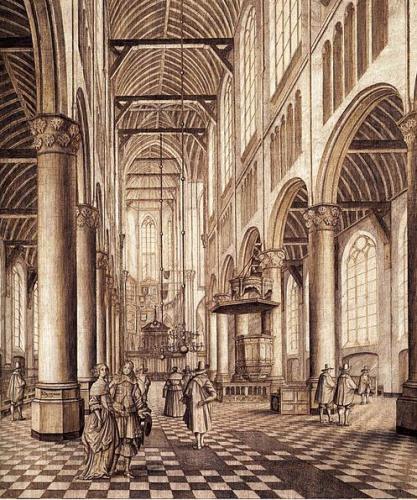 Interieur Nieuwe Kerk Delft, 1663,  door Johannes Coesermans. Grisaille: pen op hout.