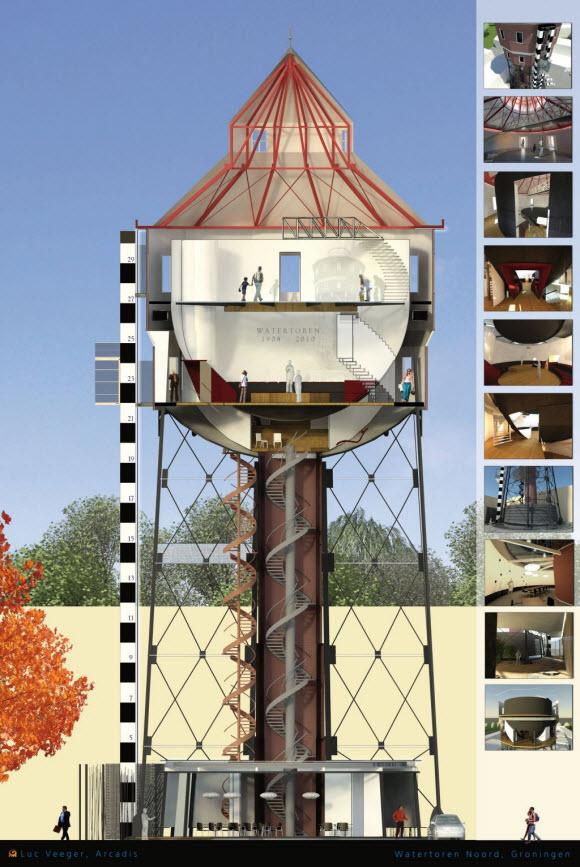 Watertoren plan doorsnede opengewerkt. Tekening: Arcadis