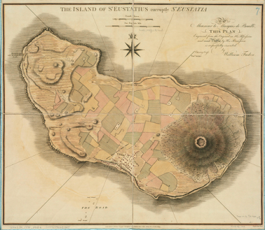 Achttiende eeuwse kaart van Sint Eustatius. Afb: Norman B Leventhal Map Center via Flickr