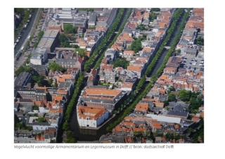 Vogelvlucht van het Voormalig Armaturenmuseum in Delft bron: Smoes Architecten