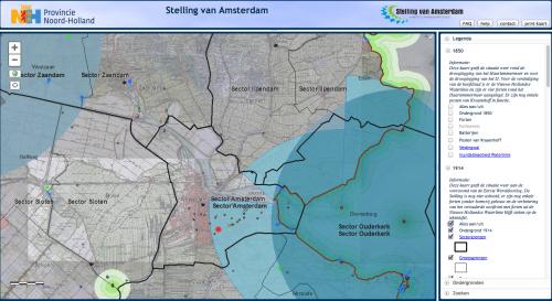 Digitale kaart Stelling van Amsterdam, door Provincie Noord-Holland