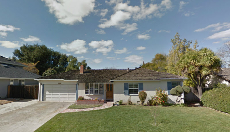 Het ouderlijk huis van Steve Jobs in Los Altos, Californië. bron: Streetview
