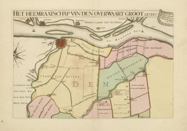 Wandkaart van de Alblasserwaard (Overwaard), Zuid-Holland, 1706.
