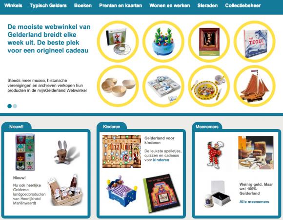 Webwinkel Mijn Gelderland. Screenshot webwinkel.mijngelderland.nl