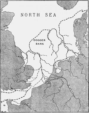 De kaart van Doggerland, waar nu de noordzee ligt. Door Clement Reid. via Wikimeida Commons