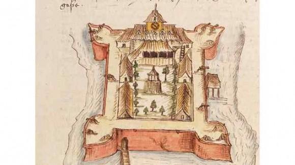 Gezicht in vogelvlucht op fort Victoria, Ambon (tussen 1600 en 1630), ingekleurde tekening op papier, Atlas of Mutual Heritage, collectie Nationaal Archief.