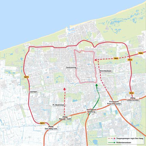 In het groen, het tracé van de Rotterdamsebaan