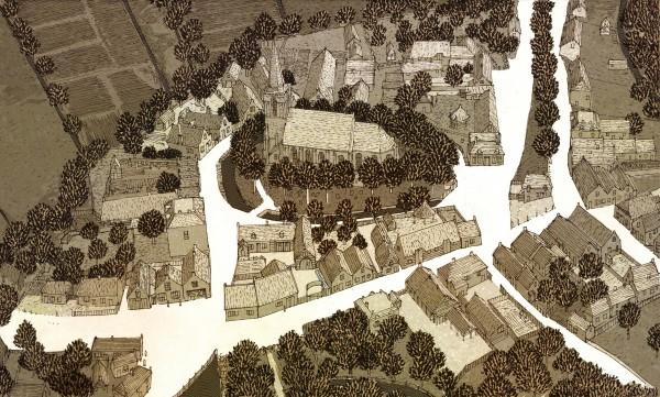 Vogelvlucht van het dorpshart, 200 jaar geleden. Illustratie: Kelvin Wilson