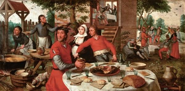 eeninspiratiebronvoor hetdiner:schilderij PieterAertsen,Boerenfeest, 1550, KunsthistorischesMuseum, Wenen