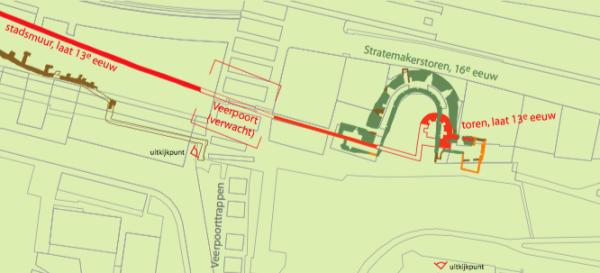 De locatie van de opgraving uit de folder (zie PDF) afbeelding: Gemeente Nijmegen