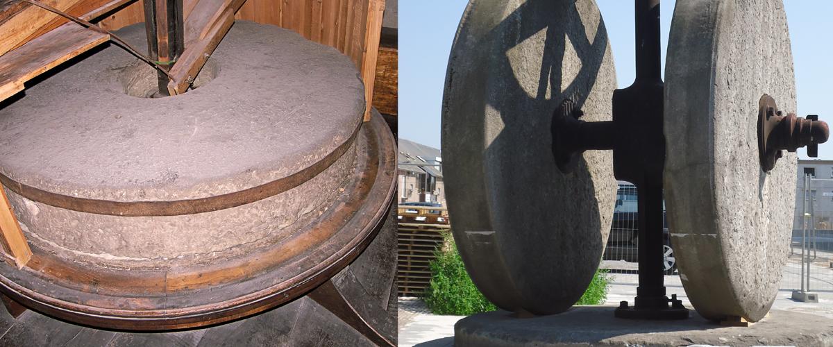 De molenstene  van een korenmolen (L) en een kruitmolen (R) foto's: Links: Rasbak via Wikimedia Commons Rechts: Fred Lambert via Wikimedia