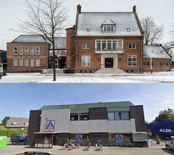Gemeentehuis Ochten/ De huidige Aldi Foto: Google maps