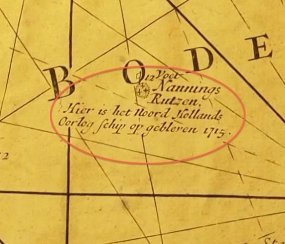 Zeekaart met locatie scheepsramp