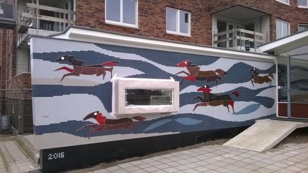 Het herstelde kunstwerk in mozaïek van Frank Biermans Foto: Gemeente Amersfoort