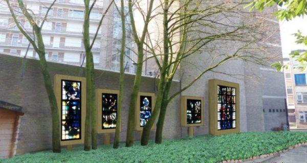 De ramen van de gesloopte Kleine Eusebiuskerk, Arnhem Foto via Arnhems-erfgoed.nl