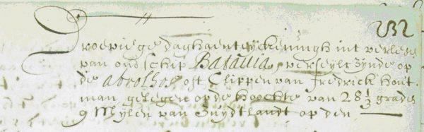 """Aanhef van het officiële verslag van commandeur Pelsaert uit 1629: """"Droeviege daghaenteijckeningh int verliesen van ons schip Batavia […]"""""""