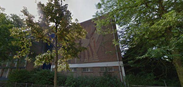 Kunstwerk Berend Hendriks op Walewyc Mavo, Waalwijk Foto: Google Maps