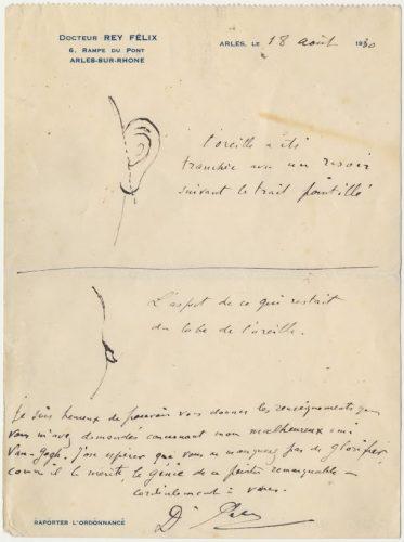 Brief van Félix Rey over het oor van Vincent van Gogh Foto: Museum van Gogh
