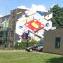 'De Stijl-wandschildering' op flat in Utrechtse overvecht