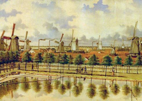 Detail van de Amsterdamse stadswal begin 19e eeuw