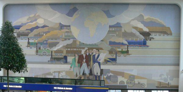 Muurschildering van Peter Alma in het Amstelstation