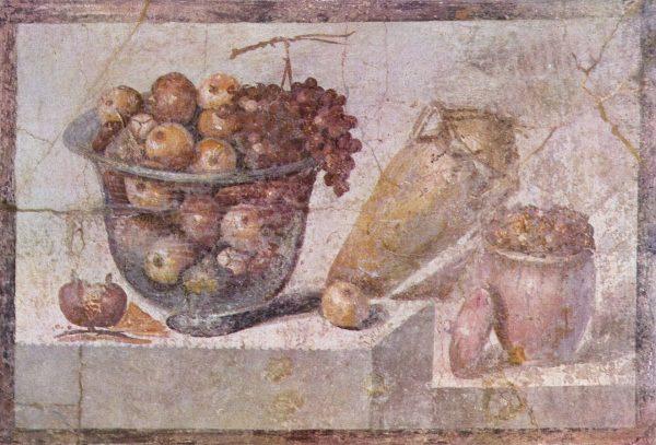 Romeins mozaiek met eten Pompeii