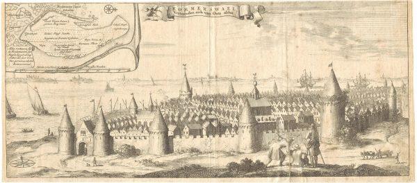 Gezicht op de stad Reimerswaal, voor de stormvloed van 1570