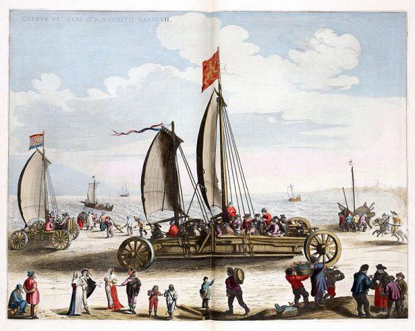 De zeilwagen en het prototype, ontworpen door Simon Stevin, op het strand van Scheveningen