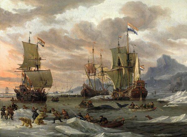 Drie Hollandse walvisvaarders in de Poolzee