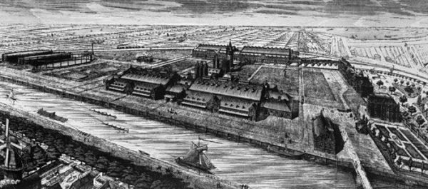 De Westergasfabriek met de Haarlemmervaart en omgeving