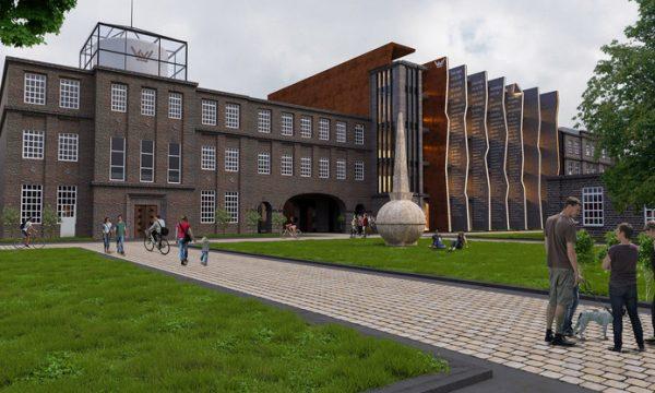 Sfeerbeeld van de nieuwe entree van het KVL-terrein in Oisterwijk, gezien vanaf de spoorzijde. Links van de nog te restaureren gedenknaald is de ingang naar het U-gebouw aan de rechterkant