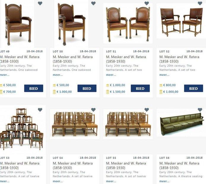 Een greep uit de historische stoelen die het Vredespaleis wil veilen