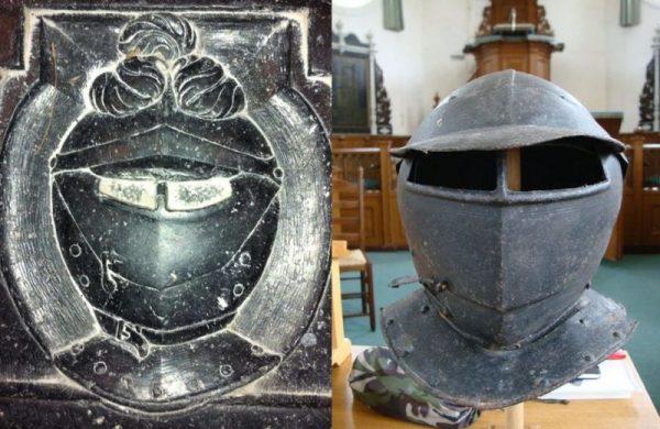 Van Aysma's helm op zijn gerestaureerde graf en in het echt