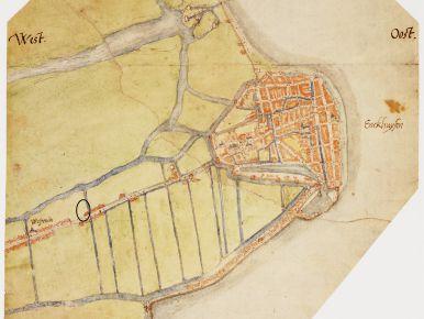 De kaart van Jacob van Deventer uit omstreeks 1560 met in het zwart het onderzoeksgebied