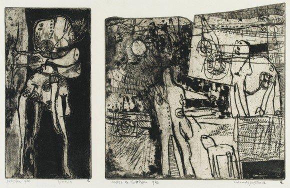 Hannes (J.G.M.) Postma, Pelgrim/Onder de horizon, 1962, ets/aquatint, 30 x 46 cm (papiermaat), inv.nr. SZ18416