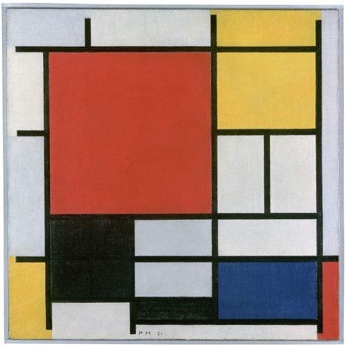 Piet Mondriaan - Compositie met groot rood vlak, geel, zwart, grijs en blauw , 1921