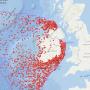 Kaart toont 3500 scheepswrakken rond Ierse kust (Eng)