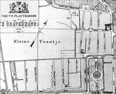 Kaart van het Zeeheldenkwartier in Den Haag uit 1874