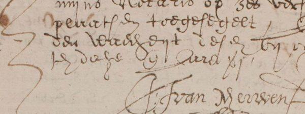 Fragment uit de notariële akte uit 1637
