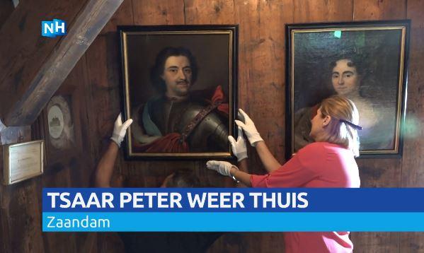 Portret van tsaar Peter de Grote in het Czaar Peterhuisje in Zaandam