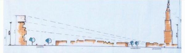 Het geplande bouwwerk The Spot en de Onze Lieve Vrouwentoren in Amersfoort