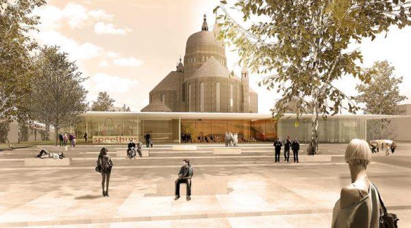 Het ontwerp van de glazen ombouw door architectenbureau Van Dongen-Koschuch