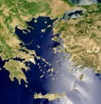 Satellietfoto van de Egeïsche Zee