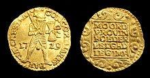 Gouden dukaat uit het wrak van het VOC-schip 't Vliegend Hert